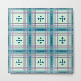 Preppy Plaid in Blue and Green Metal Print