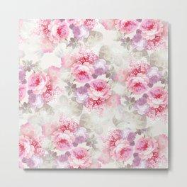 Elegant blush pink lavender ivory romantic roses floral Metal Print