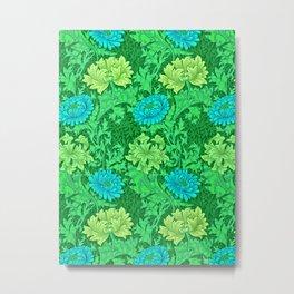 William Morris Chrysanthemums, Lime Green & Aqua Metal Print