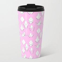 Pink paper crane origami pattern Travel Mug