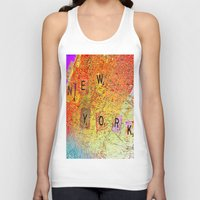 new york map Tank Tops featuring New York Map by Ganech joe