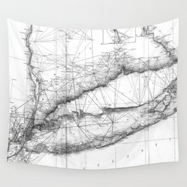 Vintage Map of Long Island NY (1877) BW Wall Tapestry