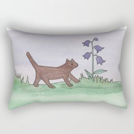 Brown Cat and Bluebells Rectangular Pillow