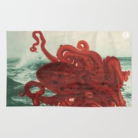 octopus Area & Throw Rugs featuring Octopus Beach by Chase Kunz