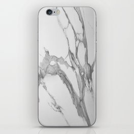 White Marble With Silver-Grey Veins iPhone Skin