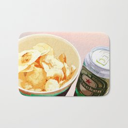 Potato chips and Heineken Bath Mat