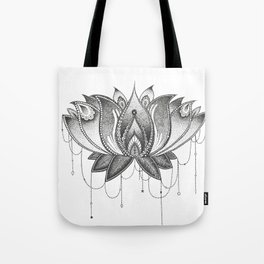 Zentangle Lotus Mandala Tote Bag