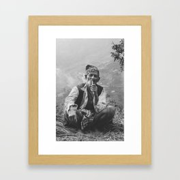 Nepali Shaman and Pipe Framed Art Print