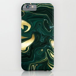 Emerald Green Black Gold Marble iPhone Case