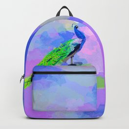 Peacock Dream - peacock painting, animal illustration, colorful Backpack