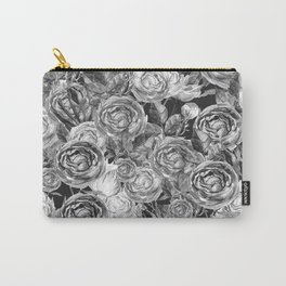 Vintage Roses Black And White Carry-All Pouch