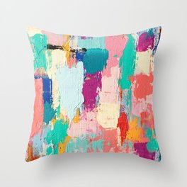 CABBAGE HANDS // ABSTRACT MIXED MEDIA ON CANVAS Throw Pillow