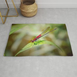 Red Damselfly Dragonfly Rug
