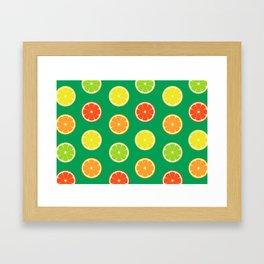 orange lemon lime grapefuit pattern Framed Art Print