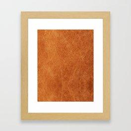 Farmhouse Style Original Camel Leather Oriental Design. Framed Art Print