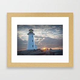 Sunrise at Peggys Cove Lighthouse in Nova Scotia Framed Art Print