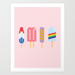 Popsicle - Four Pack Pink #267 Art Print