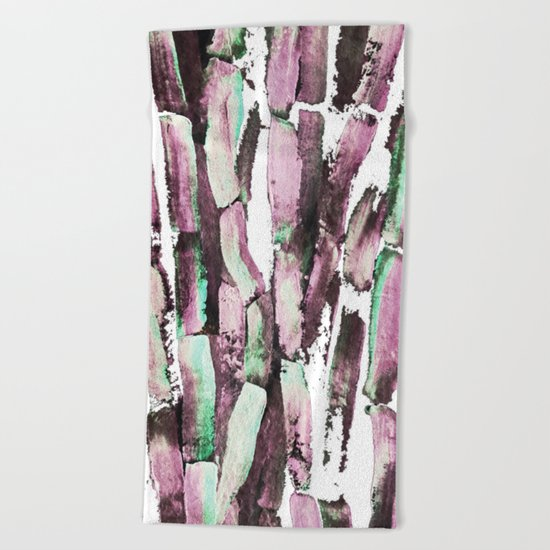 Purple Sugarcane on Greenery Beach Towel