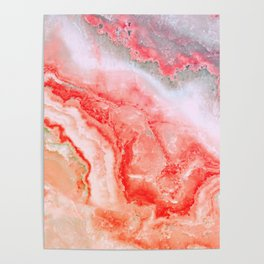 Luxury LIVING CORAL Agate Marble Geode Gem Poster