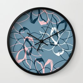 Pastel Flowers pattern Wall Clock