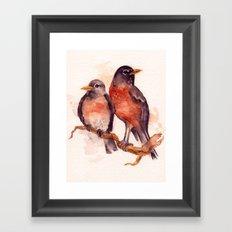 Two Robins Framed Art Print
