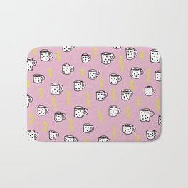 Ultimate coffee addicts good morning illustration pattern Bath Mat