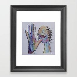 ASL Mother in Denim Coloring Framed Art Print