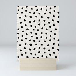 Modern Polka Dots Black on Light Gray Mini Art Print