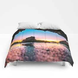 Ocean Cave At Sunset Comforters