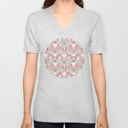 Rose Pink, Grey and Gold Art Deco Unisex V-Neck