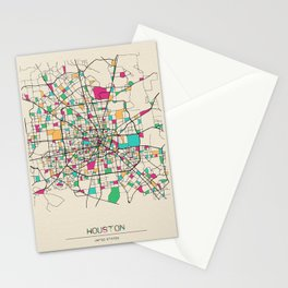 Colorful City Maps: Houston, Texas Stationery Cards