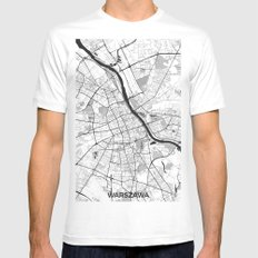 Warsaw Map Gray MEDIUM White Mens Fitted Tee