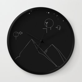 Dark Mountains Wall Clock