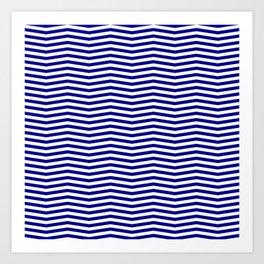 Australian Flag Blue and White Wavy Chevron Stripe Art Print