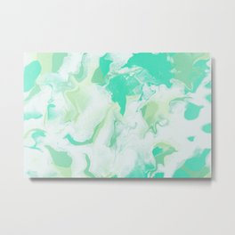 Green & White Abstract Art Metal Print