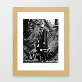 Woman with galgo espagnol Framed Art Print