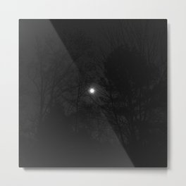 full moon through trees, black and white Metal Print