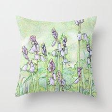 Spanish Bluebells Sketch Throw Pillow