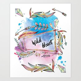 Wild Heart Boho Tribal Frame with Arrows and Crystals Art Print