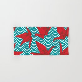 Origami red paper cranes sketch. burgundy maroon line Nature oriental Hand & Bath Towel