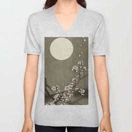 Blossoming plum tree at full moon  - Vintage Japanese Woodblock Print Art Unisex V-Neck