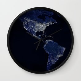 Earth at Night with the lights of most populated cities Wall Clock