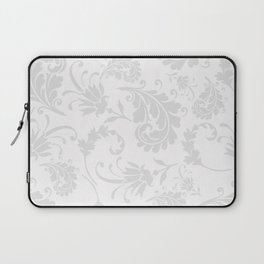 Vintage of white elegant floral damask pattern Laptop Sleeve