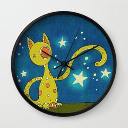 Olive the Starry Cat Wall Clock