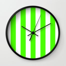 Chlorophyll green - solid color - white vertical lines pattern Wall Clock
