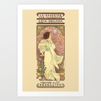 french Art Prints featuring La Dauphine Aux Alderaan by Karen Hallion Illustrations