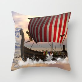The  viking longship Throw Pillow