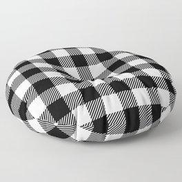 Buffalo Plaid - Black and White Floor Pillow
