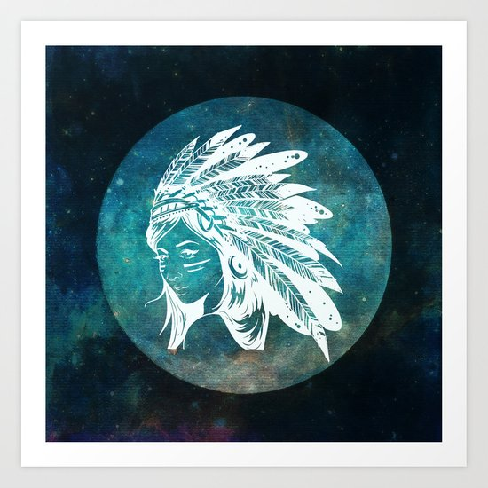 Moon Child Goddess Bohemian Girl Art Print