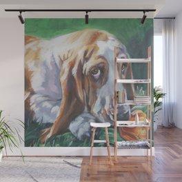 Beautiful Basset Hound dog portrait art an original painting by L.A.Shepard Wall Mural